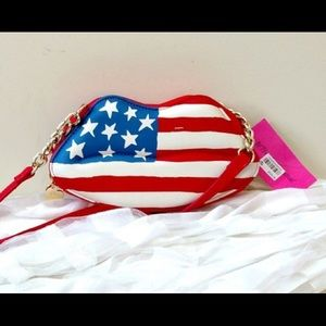 Betsey Johnson Quilted American Flag Crossbody Bag